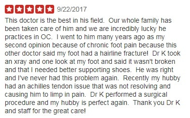 top rated podiatrist in orange county